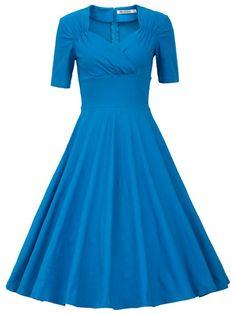 MUXXN Women's 50s Vintage Short Sleeve Pleated Swing Dress(S,Blue & White)