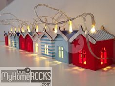 Beach hut fairy lights/nautical theme string lights, more cute ideas at… Seaside Bedroom, Seaside Theme, Nautical Bedroom, Seaside Decor, Nautical Bathrooms, Beach Bathrooms, Nautical Home, Coastal Decor, Beach Hut Interior