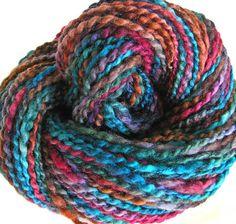 Handspun Hand Dyed Yarn BFL Wool Silk Bulky Yarn by FiberFusion