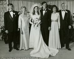 Close-knit: Ann and Mitt Romney on their wedding day in 1969 with her parents Edward and Lois Davies (left), and his parents Lenore and George. The couple married when they were undergraduate