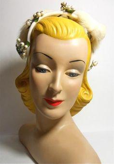 Winter Berry Topped Velvet Headband Hat circa 1960s