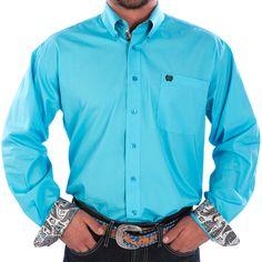 Men's Cinch Solid Blue Buttondown Shirt