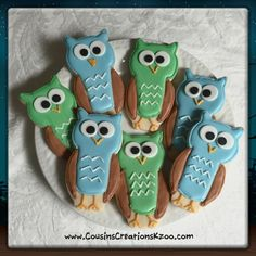 Owl Cookies Custom Cookies by Cousin's Creations - Cousin's Creations