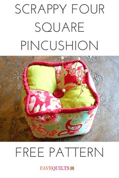 Lovely little pincushion to use up your scrap fabric. These would make great gifts for quilting friends.