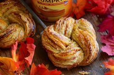 Pumpkin Twists: Flaky puff pastry is stuffed with spiced pumpkin and topped with a vanilla glaze.
