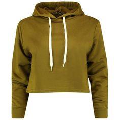 Boohoo Petite Rose Cropped Hoody   Boohoo ($20) ❤ liked on Polyvore featuring tops, hoodies, high neck crop top, ribbed crop top, jersey hoodie, cropped hooded sweatshirt and brown crop top