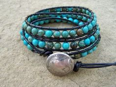 New Mexico Turquoise Leather Beaded Wrap Bracelet by justhipstuff, $46.99