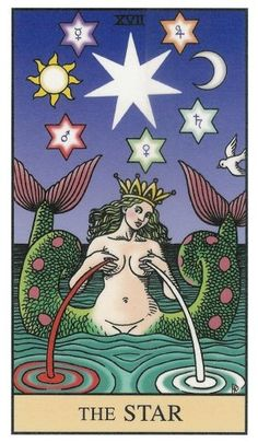 The Star tarot card. Alchemical Tarot by Robert Place. Tattoos 3d, Art Magique, Star Tarot, Tarot Major Arcana, Spiritus, Mystique, Tarot Readers, Art Graphique, Oracle Cards
