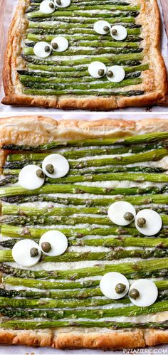 Monster Eye Asparagus Tart, cute for a Halloween dinner! Pizza Halloween, Plat Halloween, Fete Halloween, Healthy Halloween, Halloween Dinner, Halloween 2014, Halloween Fingerfood, Halloween Party Appetizers, Halloween Food For Party