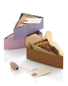 Baby Shower Crafts: Give your guests something to remember! Leftover dessert doubles as guest favors when packaged in boxes that are as pretty as, well, pie. Customize them with guest names and other designs to add your own personal touch.