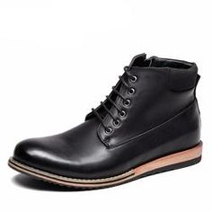 Lace-Up Leather Made Ankle Boots For Men