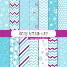Buy 2 Get 1 Free! Digital Paper Frozen Inspired Patterns winter papers snowflakes stripes chevron polka dots for scrapbook seamless #Pink #Wedding #PinkWedding #Paper