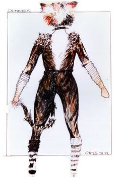 Demeter design (back view) - original costume design, John Napier 1981