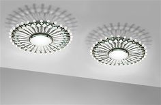 Two Max Ingrand FontanaArte ceiling lights made for the Hotel Savioli in Spiaggia.