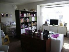 Nice loft divider bookshelf