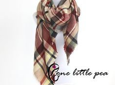 Plaid tartan Blanket Scarf, Oversized, Navy, Tartan Scarf, Fall Plaid Scarf, Checkered Blanket Scarf, stocking stuffer sc01