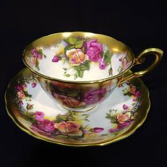 Royal Chelsea Golden Rose Tea Cup and Saucer Pink and Yellow