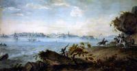 Eteläsatamaa 1809. Taustalla Viapori.