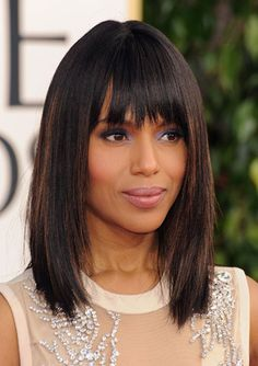 Kerry Washington  She's been making waves with standout beauty looks on the red carpet promoting Django Unchained, but we loved Kerry Washington's blown-out bob and muted lavender eye shadow.