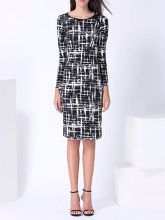 #AdoreWe #StyleWe Dresses - Friday Abstract Printed Long Sleeve Elegant Midi Dress - AdoreWe.net