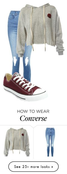 """Untitled #10954"" by xxxlovexx on Polyvore featuring JDY, Sans Souci and Converse"