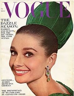 Audrey Hepburn on the cover of Vogue wearing a hat designed by Givenchy.