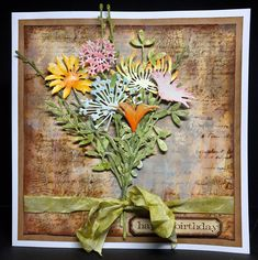 Treasured Moments of Inspiration: Wildflowers for Birthdays Wishes Tim Holtz Dies, Tim Holtz Stamps, Sizzix Dies, Card Making Inspiration, Making Ideas, Ace Card, Making Greeting Cards, Beautiful Handmade Cards, Marianne Design
