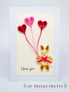 Quilled Valentine Card  Teddy Bear  Red and Pink by ofthingspretty, $8.50