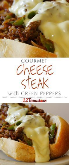 Cheesesteak With Green Peppers | Caramelized onions are such a treat in this dish and the provolone sauce is like nothing you've had on a sandwich before it's that good.