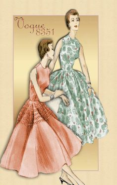 Vintage Dress Pattern Vogue 8351 1950s Sleeveless Cocktail Dress with Two Skirt Options Size 16 Unused Pattern. $30.00, via Etsy.