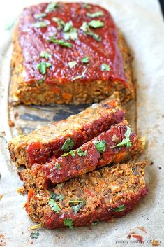 This lentil loaf is topped with a ketchup glaze. It's a delicious vegetarian and vegan take on the classic meatloaf.