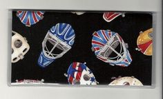 """Hockey Mask Scattered Sport Checkbook Cover by Tickled Pink Boutique. $5.00. The sturdy clear VINYL COVER encases a fabric bonded design. Measuring 6 1/4"""" x 3 1/4"""",  the cover fits all standard bank checkbooks and banking registers.  All checkbook covers come with a register flap and a duplicate check flap  just like the bank, only flashier.  These checkbook covers are a great alternative to the expensive covers offered by banks and online check companies. Checkbook Cover, Online Checks, Vinyl Cover, Banks, Hockey, Women Accessories, Alternative, Sport, Deporte"""