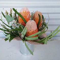 Banksia table centre arrangement by RANE flowers Wedding Flower Arrangements, Table Arrangements, Centrepieces, Wedding Centerpieces, Floral Arrangements, Wedding Flowers, Wedding Decorations, Wedding Day, Table Decorations