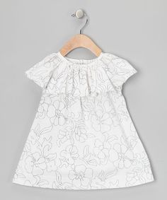Ivory Silver Glitter Rose Ruffle Top - Infant & Toddler