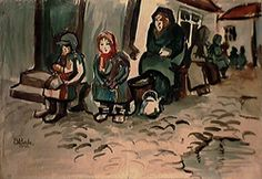 In the Street, 1946,  Samuel Bak,  Watercolor on paper  50x72 cm.  Collection of the artist