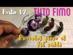 #60 - Fimo & Fil Câblé : Tuto Bracelet 1/2 - YouTube Talc, Polymer Clay Jewelry, Bracelets, Tutorials, Crafty, Pasta, Youtube, Tips And Tricks, Bijoux