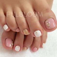 Pink and White Pedicure with Glitter and Gems.: