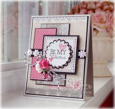 Be My Valentine by AndreaEwen - Cards and Paper Crafts at Splitcoaststampers stacking idea Valentine Love Cards, Valentine Ideas, Card Making Inspiration, Card Sketches, Cute Cards, Diy Cards, Creative Cards, Anniversary Cards, Greeting Cards Handmade