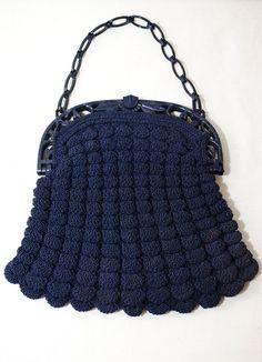 Vintage 30s Art Deco Celluliod Crochet Purse by LunaMarket on Etsy, $38.00