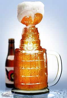 Behold: The Stanley Stein. Perfect for the hockey lover or beer drinker in your life. Blackhawks Hockey, Chicago Blackhawks, Flyers Hockey, Hockey Playoffs, Hockey Rules, Hockey Shirts, Football, Montreal Canadiens, Hockey Baby
