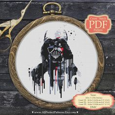Cross stitch pattern Name: Darth Vader / Watercolor / Star Wars Designed By: All Perfect Patterns Fabric: Aida, White 86w X 139h Stitches Size: 14 Count, 15.6w X 25.2h cm (6.14 X 9.93) 16 Count, 13.65w X 22.07h cm (5.4 X 8.7) 18 Count, 12.1w X 19.6h cm (4.8 X 7.7) DMC Thread: 9