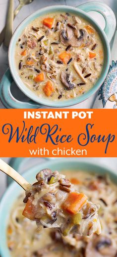 Instant Pot Wild Rice Soup with Chicken is delicious and hearty. With wild rice, mushrooms, herbs and a creamy broth. Pressure Cooker wild rice soup is amazing and easy to make! simplyhappyfoodie.com #instantpotrecipes #instantpotwildricesoup #instantpotsoup #pressurecookerwildricesoup