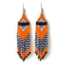 Orange earrings Orange beaded earrings Orange seed bead earrings Long beaded earrings Dangle fringe earrings Seed bead jewelry Ethnic Boho