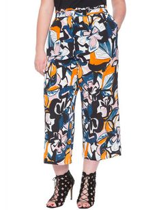 Printed Cropped Flare Pant from eloquii.com