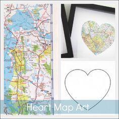 map art, gift ideas, maps, diy gift, heart art