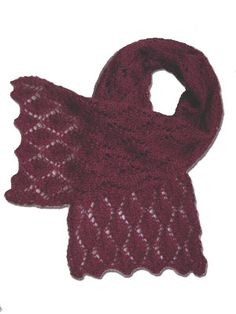 """A free knitting pattern for a lace scarf - my """"Cherry Leaf Scarf"""", available on my retail website, Kidsknits.com.  The yarn originally used for this design has been discontinued, but the pattern is timeless and can be used with countless different yarns."""