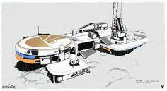 Destiny concept art, Darren Bacon on ArtStation at… Environment Concept Art, Environment Design, Game Environment, Concept Architecture, Futuristic Architecture, Bungie Destiny, Sci Fi City, Spaceship Interior, Ghost In The Machine