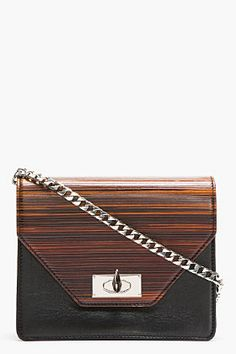 GIVENCHY Black Leather Wood Effect Sharklock Clutch