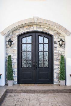 Arched Front Door, Front Door Entryway, Iron Front Door, Double Front Doors, Wooden Front Doors, Arched Doors, Exterior Front Doors, House Front Door, House Doors