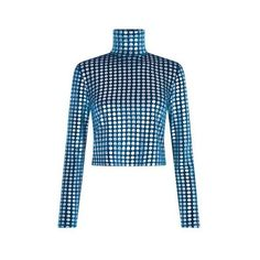 Velvet Spot Turtle Neck Top – House of Holland (£210) ❤ liked on Polyvore featuring tops, polka dot top, polo neck top, blue top, turtle neck top and army top